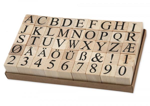"""Kleine Holzstempel """"Buchstaben und Zahlen"""", 45-tlg."""